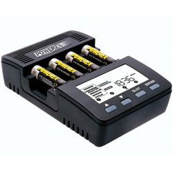 Four charger-analyzers for AA and AAA NiMH / NiCD batteries, Large backlit LCD d...