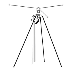 Discone base antenna, omni-directional coverage from 40 to 999 MHz. 55 inch high...