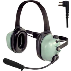 Behind-the-head style headset includes the PTT (push-to-talk) button on the eardome. M-77 Electret noise-cancelling, water resistant flexible boom microphone