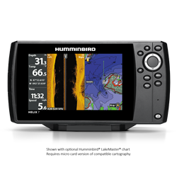 "The HELIX 7 CHIRP SI GPS G2N features a large 7"" display with LED backlight, CHIRP-ing Side Imaging, Down Imaging and 2D sonar. Includes GPS chartplotting, built-in Bluetooth, Ethernet networking capabilities, AutoChart Live with depth, vegetation and bottom hardness mapping, and unit cover."