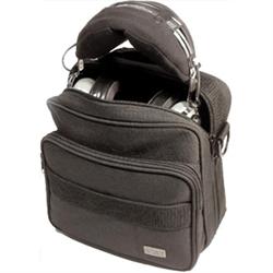Black ballistic nylon headset carry bag with DC Logo.