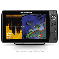 "The HELIX 12 CHIRP DI GPS G2N features a large 12.1"" display with LED backlight, CHIRP Down Imaging and CHIRP 2D sonar. Includes GPS chartplotting with built-in Bluetooth, Ethernet networking capabilities, AutoChart Live with depth, vegetation and bottom hardness mapping, and unit cover."