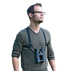 Permits hands-free binocular carry. Raise the binocular to your eyes for quick viewing, return it to chest when done