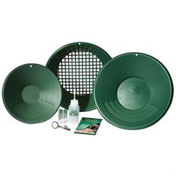 "Garrett Gold Pan Kit includes 14"" Prospector Pan, 10"" Backpacker Pan, Classifier..."